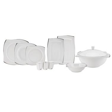 Karaca Fine Bone White Platin 60 Parça 12 kişilik Yemek Takımı Kare Gümüş